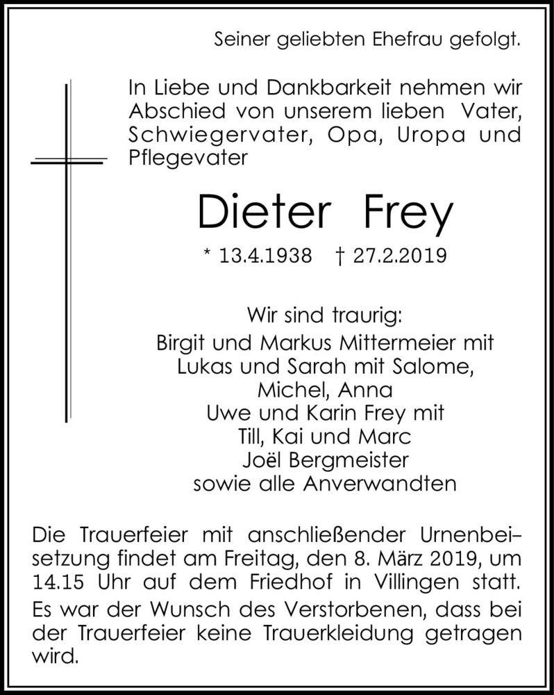 Traueranzeige Dieter Frey Sudkurier Trauerportal