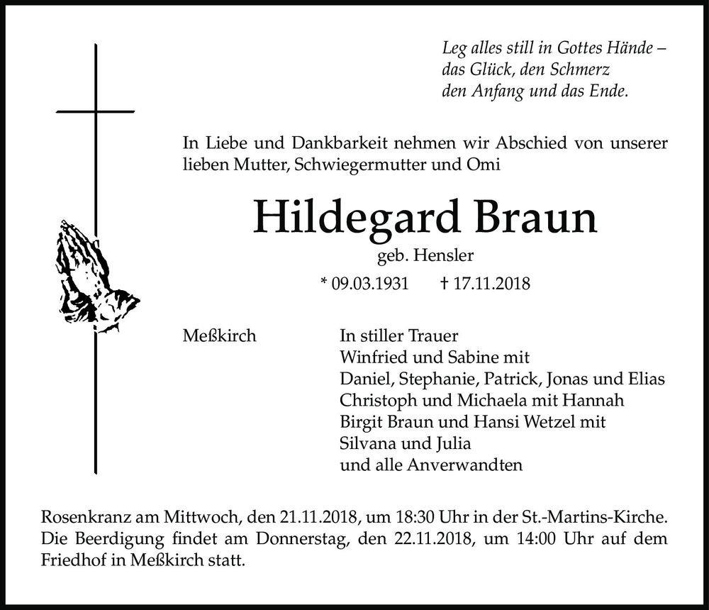 Traueranzeige Hildegard Braun Sudkurier Trauerportal